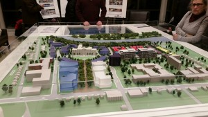 A model of the new Greystone Village development at a recent open house. In the foreground is the planned public space leading from Main Street to the Deschatelets Building.  PHOTO BY T.L. DI GIACOMO