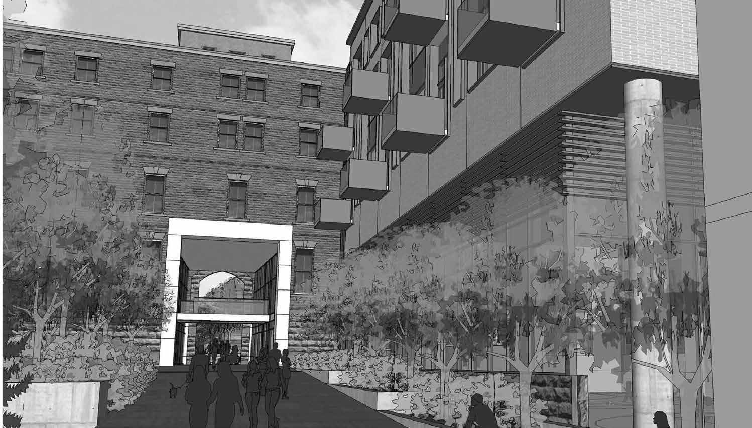 One of the proposals for the Deschâtelets building would provide pedestrian access through the main entrance to connect to the river path. Image by Barry J. Hobin & Associates