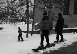 Today, area youth take advantage of the sloping terrain beside the hydro substation at Riverdale Avenue and Main Street for use as a snowboarding run. Photo by Lorne Abugov