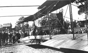 Another aviation first –the maiden flight of inter-City mail delivery between Ottawa and Montreal on October 9, 1913 - took place at Slattery's Field; the milestone was captured in this photo of the Vought/Lillie biplane flown by pilot William C. Robinson. Photo By Rick Wallace: Online History Of Ottawa East Photos