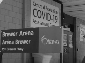 The City's first COVID-19 Assessment Centre situated at the Brewer Arena in Old Ottawa South has now been supplemented as confirmed cases of coronavirus multiplied. Photo by John Dance