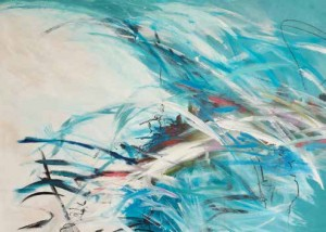 "Tempest 40"" x 50"" (102 x 127 cm) - acrylic, ink, graphite, oil pastel. Image by Karen Goetzinger"