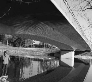 The concrete LRT Bridge that spans the river just west of uOttawa was originally used by cars but now supports the rapid transit line.