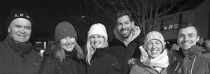 This photo of the Nimmo/Moxley family and family friends was taken in the context of OOE's Christmas Eve sleigh ride. Pictured from left to right are Geoff Nimmo, wife Heather Moxley, youngest daughter Amanda, Brandon Simins, eldest daughter Victoria, and John Pratt. Supplied Photo