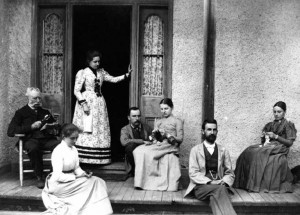 "Pictured here on the front porch of Wildwood is the family of Robert Lees, publishers of the Wildwood Echo from 1877 to 1885. L to R: Robert Lees, who contributed poetry to the Echo, and was referred to as ""Pater"", Jessie Lees (the youngest daughter, born at Wildwood), Lizzie Lees Brown (greatgrandmother of Susan Hill), W.A.D. Lees (Willie), Ella Lees Preston (the eldest daughter), Sidney Preston (husband of Ella Lees) and Victoria Lees. Supplied Photo"