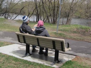 Walkers take a quick break to enjoy the view from the new Nadia Kajouji bench in Brantwood Park. Photo by John Dance