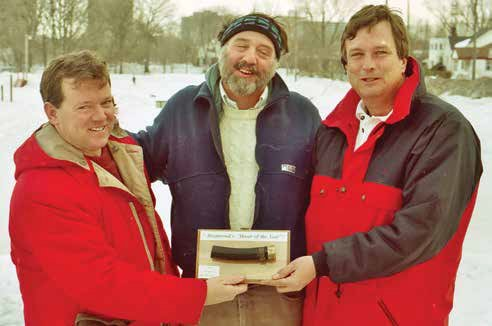 Back in 1996, Kevin Figley won the Brantwood Park rink inaugural Hoser of the Year award. He is pictured here on the left along with Don Pease, the rink coordinator (centre), and Don McCanse, co-winner of the award that year (right). Photo by John Dance