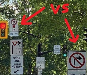 Justin Tang's efforts led to the removal of an erroneous and conflicting new traffic sign at the Clegg Street and Colonel By Drive intersection. The new sign prohibited all right turns from Clegg onto Colonel By.  Photo by Justin Tang