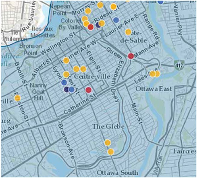 A recent screenshot of the Ottawa Police crime-mapping tool shows few criminal incidents in Old Ottawa East. Image by Ottawa Police Service
