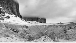 Boulder on glacier edge, Baffin Island 2013. Photo by Jim Lamont