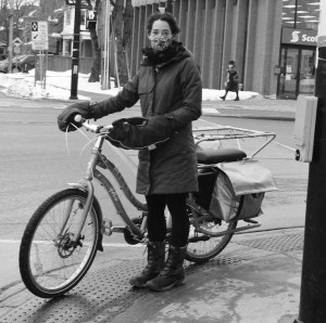 """Barbara Greenberg of Bike Ottawa says the southwest corner of Main and Hawthorne is """"incredibly dangerous"""" for cyclists and pedestrians and should be fixed during the planned reconstruction.  Photo by John Dance"""