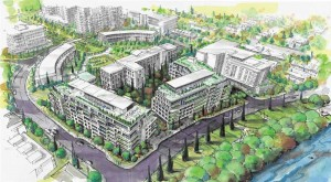 """The Regional Group is proposing two """"mid-rise"""" residential buildings to the east and south of the Deschâtelets Building, as shown in the above rendering with a view from the southeast. Scholastic Drive, which runs parallel to the river, is in the foreground and Deschâtelets Avenue is at the bottom left. Greystone Village Retirement is at the right. The semi-circular arranged residences at the top left would constitute the final component of Greystone Village.  Image by The Reginal Group"""