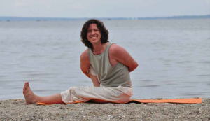Peter Kusovac demonstrates a Marichyasana pose at Barrington Beach, Rhode Island. Hugely popular with local yoga disciples, Kusovac has been a mainstay on Wednesday evenings at the Old Town Hall since 2004.