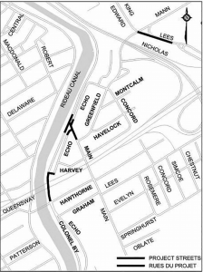 """City of Ottawa map  The """"black"""" streets shown in the map will be under construction to varying degrees this Fall. Main Street will be closed between Greenfield Avenue and Colonel By Drive."""